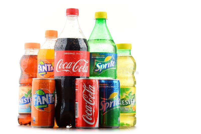 Bottiglie delle bibite assortite di Coca Cola Company immagine stock