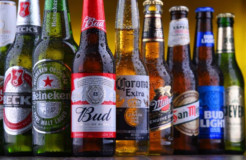 Bottiglie delle marche globali famose della birra fotografia stock