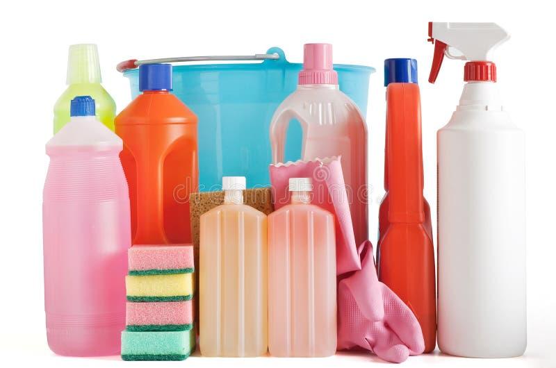Bottiglie detersive di plastica immagini stock libere da diritti