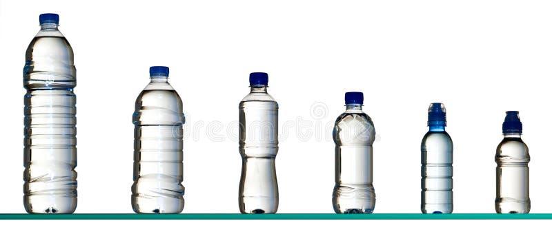 Bottiglie di acqua differenti fotografie stock