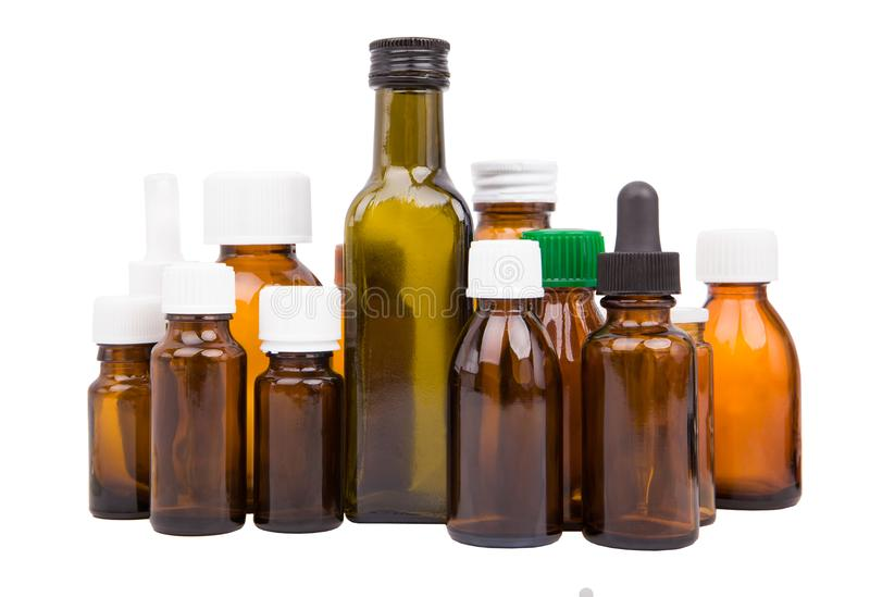Bottiglie di Brown, medicina - insieme immagini stock