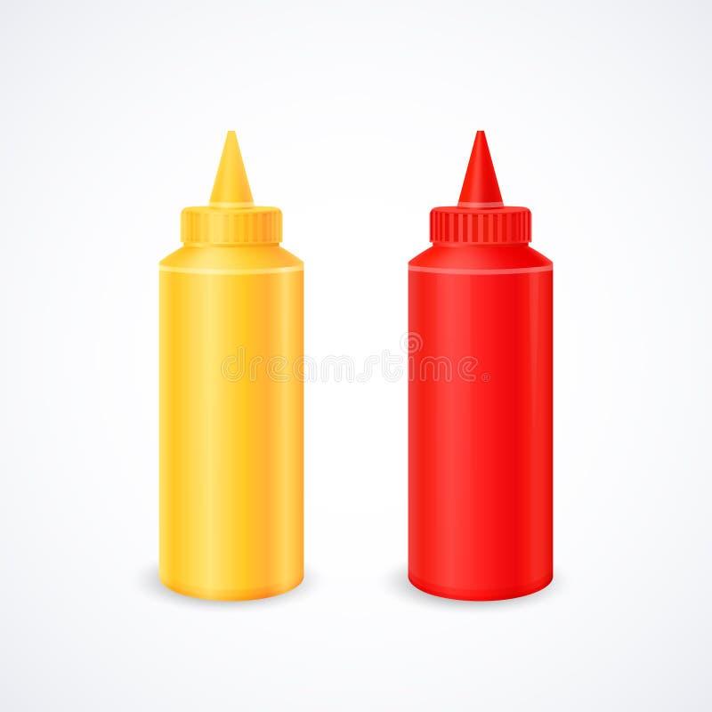 Bottiglie di ketchup e di senape fotografia stock libera da diritti