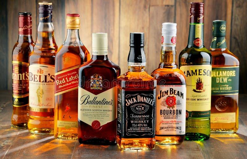 Bottiglie di parecchie marche del whiskey da U.S.A., dall'Irlanda e dalla Scozia immagine stock libera da diritti