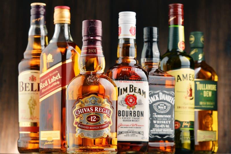 Bottiglie di parecchie marche del whiskey da U.S.A., dall'Irlanda e dalla Scozia immagini stock libere da diritti