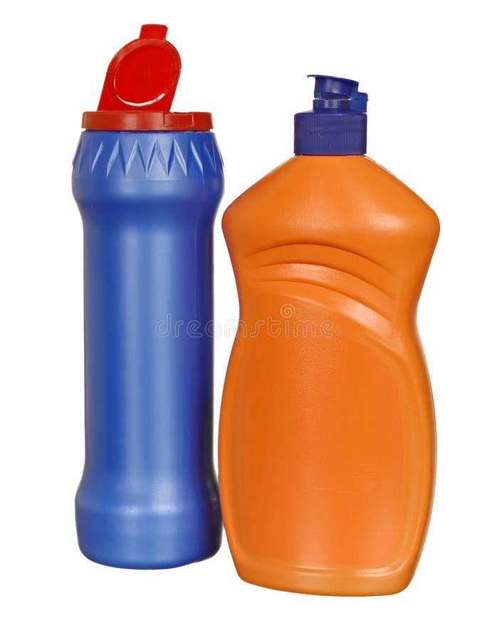 Bottiglie di plastica colorate fotografia stock libera da diritti