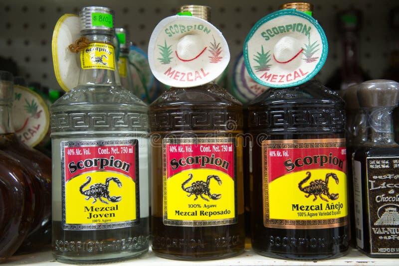 Bottiglie di tequila e di Mezcal immagine stock libera da diritti