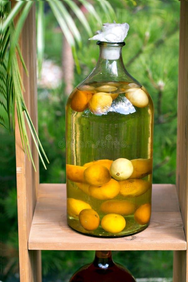 Bottiglie di tintura del limone, del ribes, delle bacche e delle sorbe Il perforatum di erbe di Medicine immagine stock