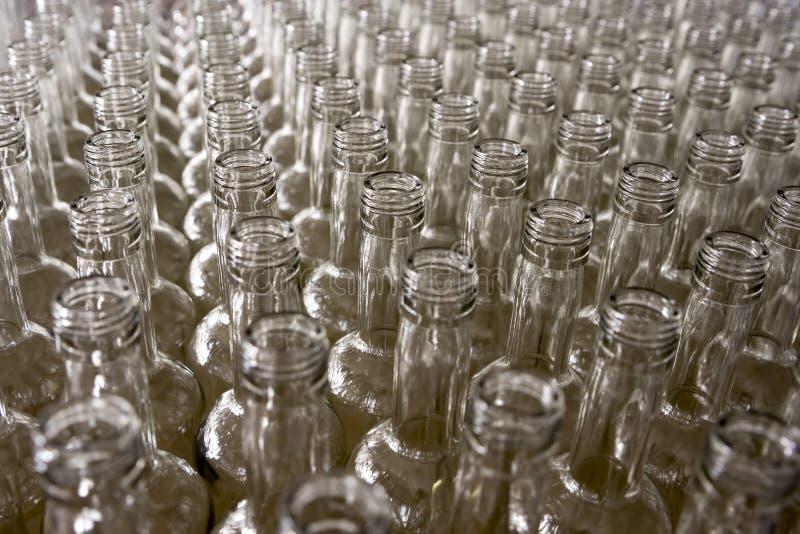 Bottiglie di vetro vuote Distilleria del brandy e del whiskey fotografie stock libere da diritti