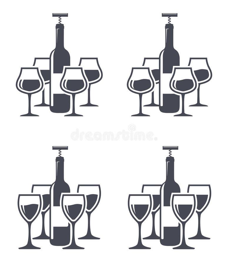 Bottiglie di vino con il glasse del vino e della cavaturaccioli illustrazione vettoriale