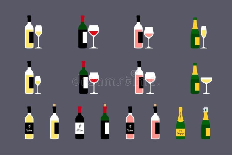 Bottiglie di vino con le icone di vetro messe illustrazione vettoriale
