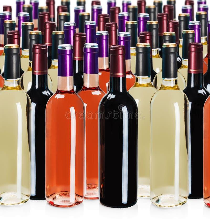 Bottiglie di vino dei tipi differenti fotografia stock