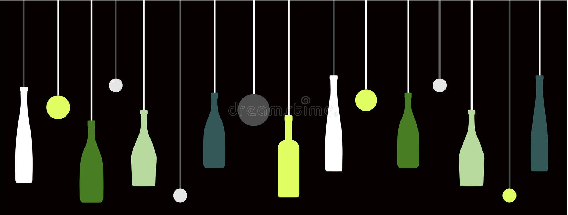 Bottiglie di vino del liquore con le bolle illustrazione di stock