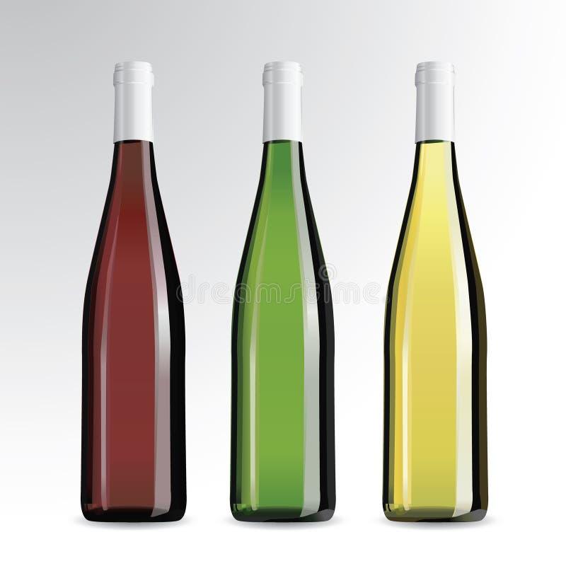 Bottiglie di vino e di champagne royalty illustrazione gratis