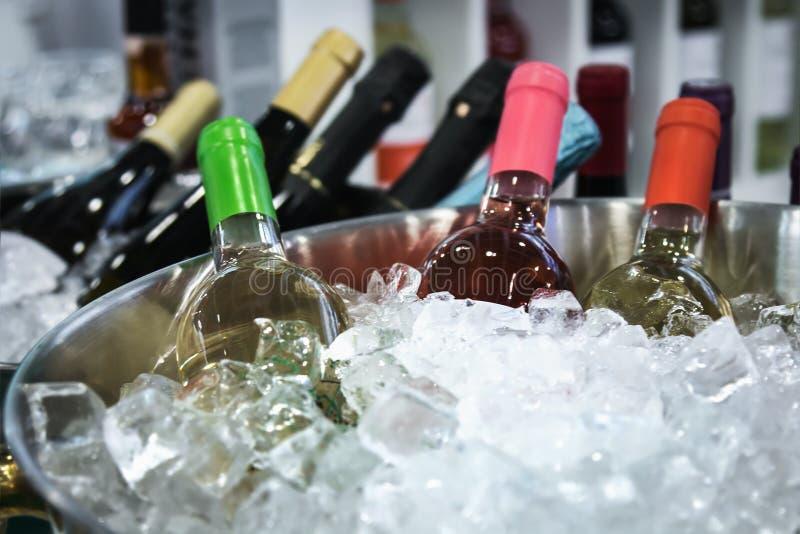 Bottiglie di vino nel ghiaccio all'assaggio immagini stock