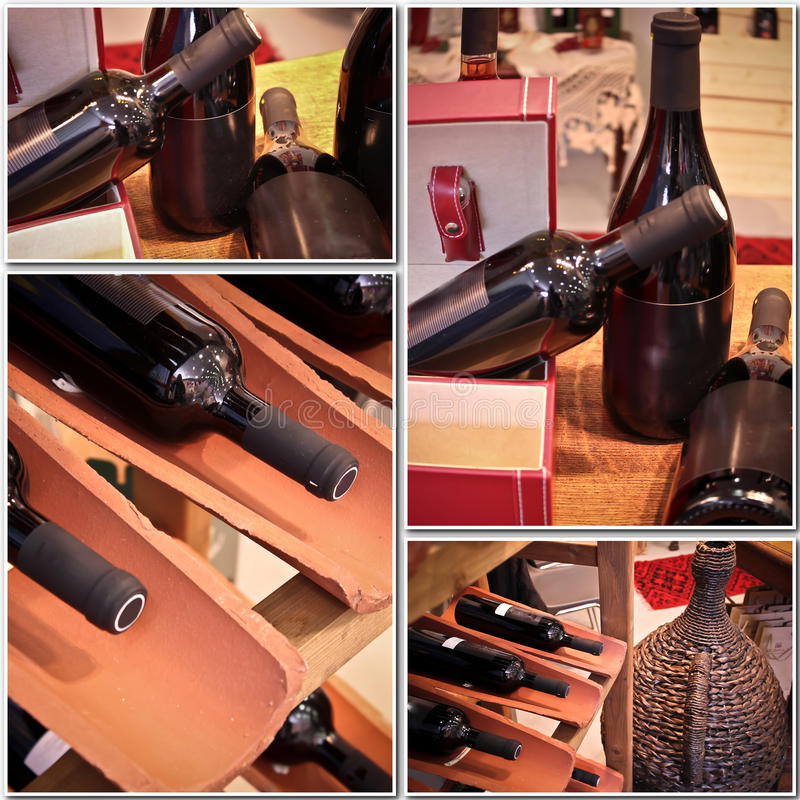 Bottiglie di vino in un collage immagine stock libera da diritti