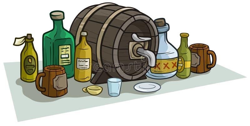 Bottiglie e tazze di legno del barilotto del fumetto per alcool illustrazione di stock