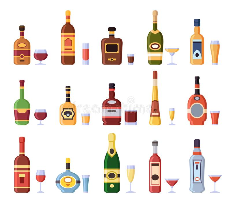 Bottiglie e vetri dell'alcool Bottiglia alcolica con sidro, vermut nel colpo del liquore o di vetro e bicchieri di vino isolati royalty illustrazione gratis