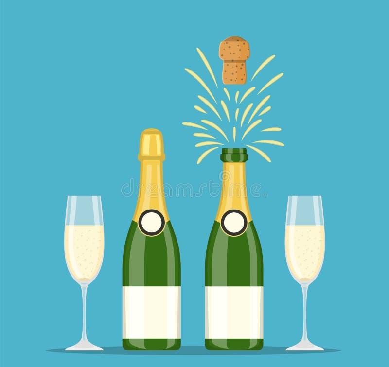 Bottiglie e vetri di Champagne illustrazione di stock