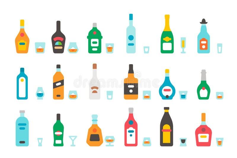 Bottiglie e vetri piani del liquore di progettazione royalty illustrazione gratis