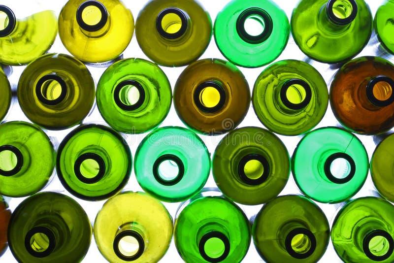 Bottiglie illuminate fotografia stock