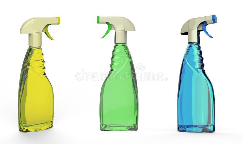 Bottiglie nebbiose variopinte dello spruzzo isolate fotografie stock