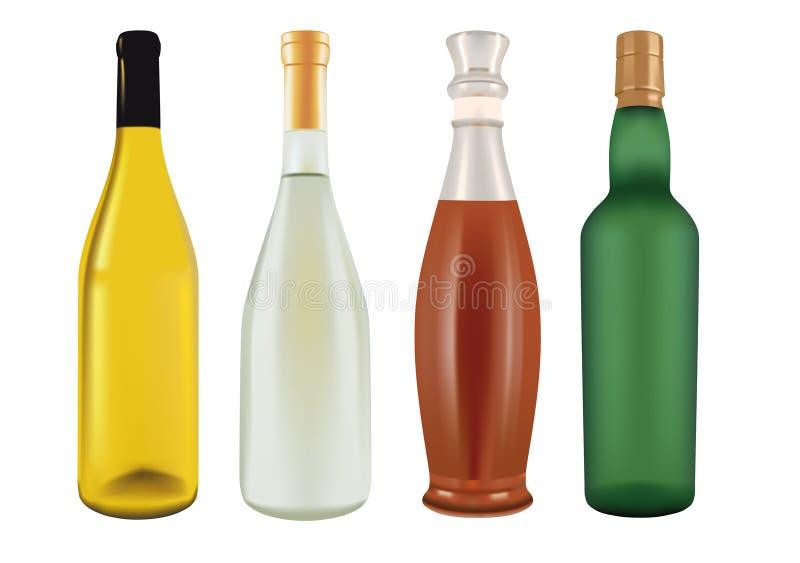 Bottiglie per champagne, birra, vino e liquore illustrazione vettoriale
