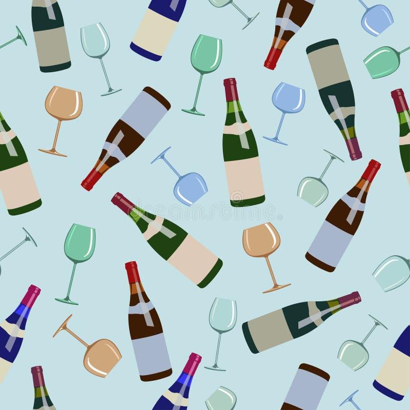 Bottiglie senza cuciture del modello di vino e di vetri illustrazione di stock