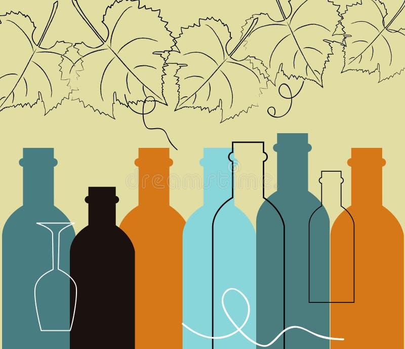 Bottiglie senza cuciture dell'alimento e del liquore del fondo illustrazione di stock
