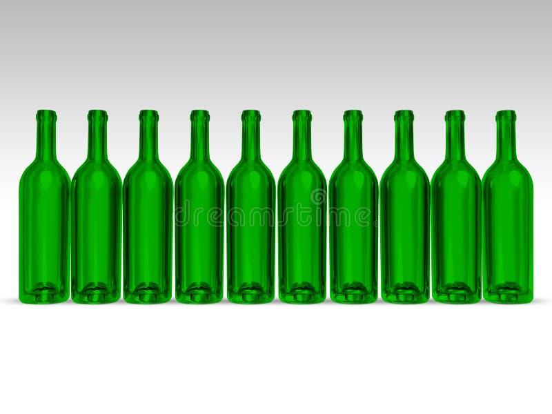 Bottiglie verdi illustrazione di stock