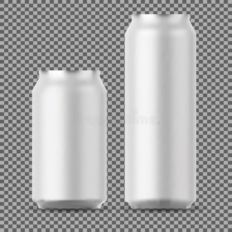 Blank beer can mock up. Small and Big Aluminium. vector illustration