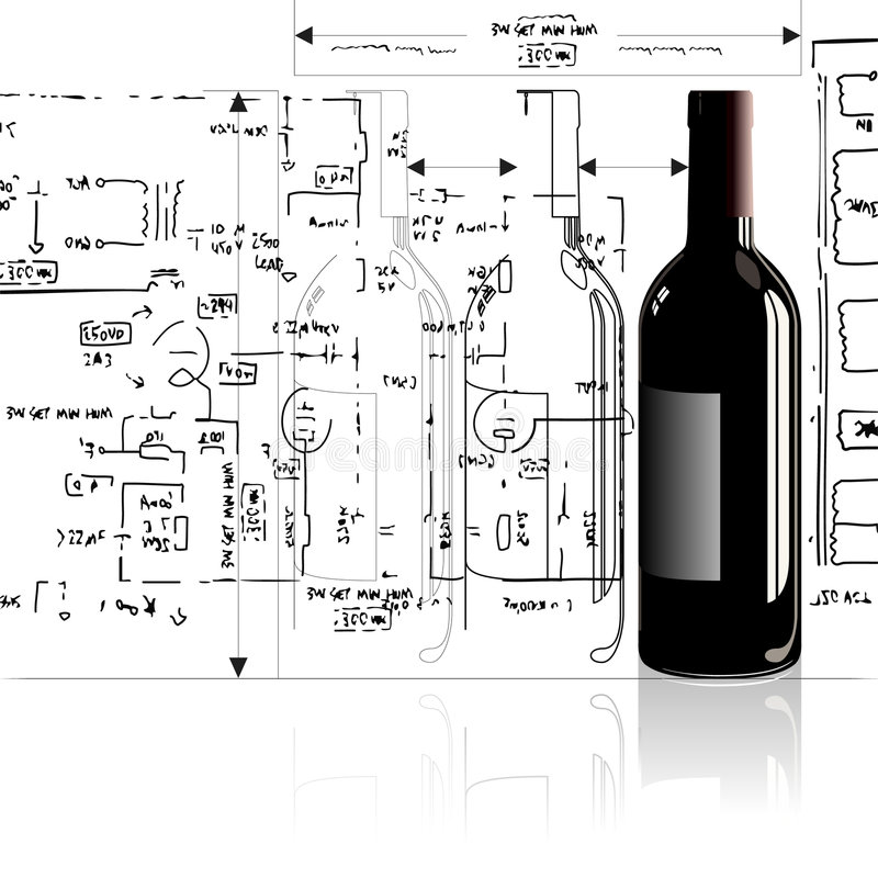 Bottle. A bottle in outline and fully rendered in a technical style royalty free illustration