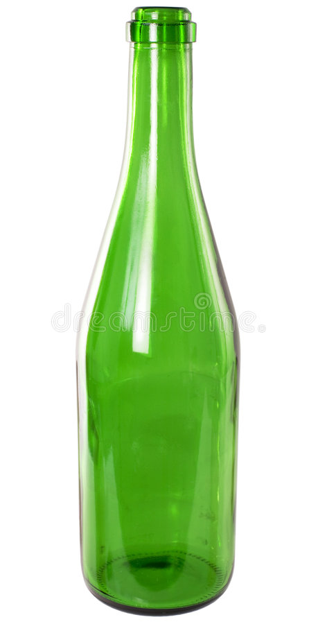 Bottle. Champagne bottle from green glass on the white background stock images