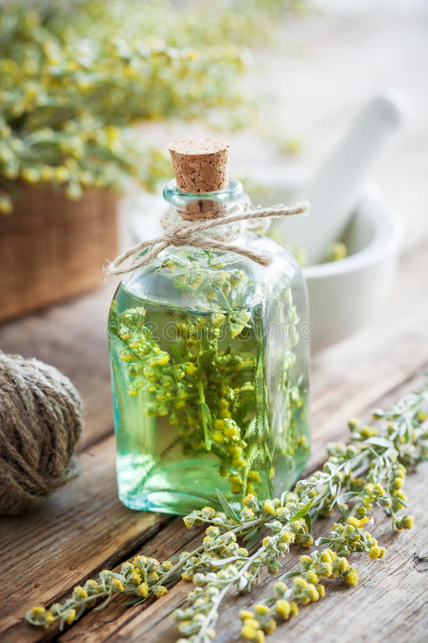 Bottle of absent or tincture of tarragon healthy herbs royalty free stock photo
