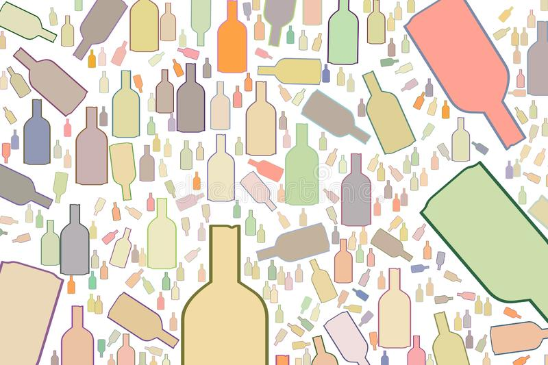 Bottle abstract, hand drawn texture, backdrop or background. Messy, pattern, style & design. vector illustration