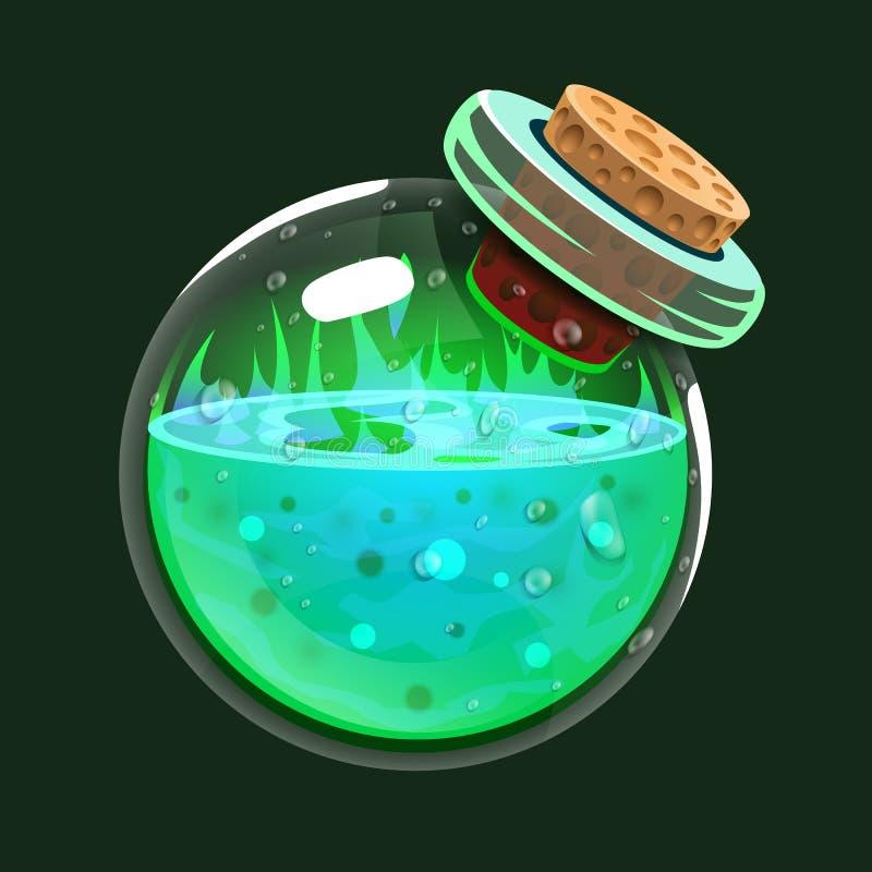 Bottle of acid. Game icon of magic elixir. Interface for rpg or match3 game. Big variant. Vector illustration stock illustration