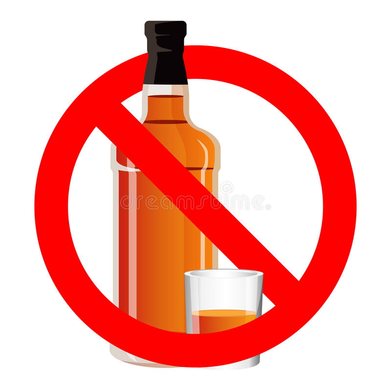 Bottle of alcohol drink and stemware in no allowed sign. Bottle of spirit drink and stemware in no alcohol allowed sign. No drinking sign prohibiting alcohol vector illustration