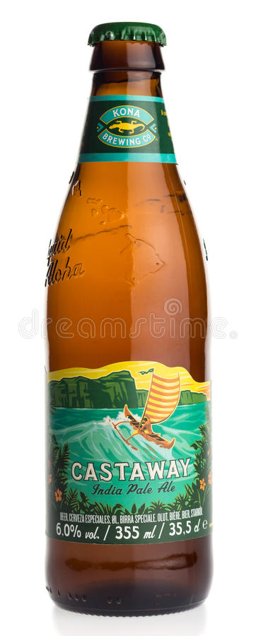 Bottle of American Hawaiian Kona Castaway beer. Isolated on a white background royalty free stock images