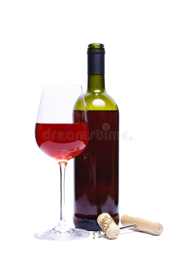 Free Bottle And Glass Of Red Wine Stock Photos - 17035273