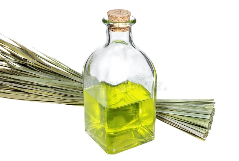 Bottle with aroma oil and bunch of medicinal herbs stock images