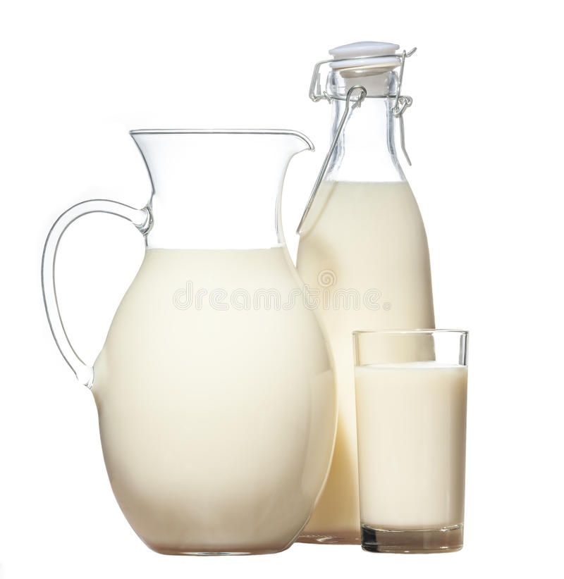 Free Bottle, Bank And Glass Of Fresh Milk Stock Photo - 85431470