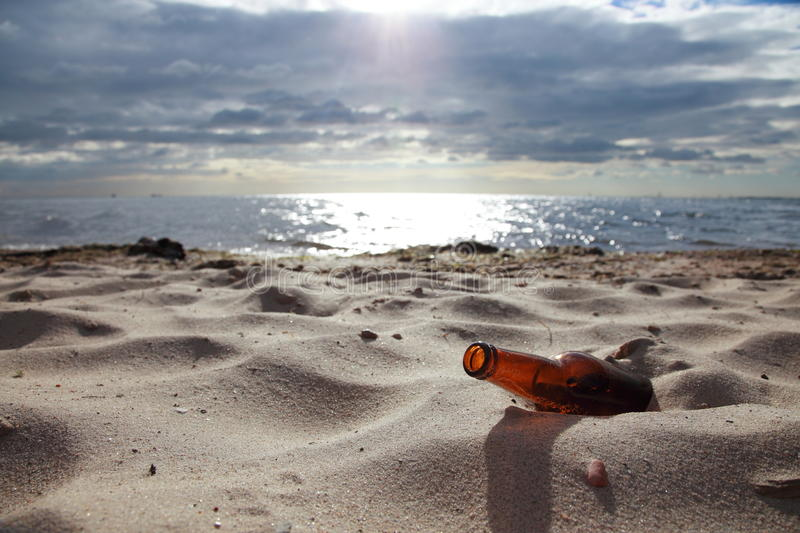 Download Bottle on beach stock image. Image of slow, waterline - 24126487