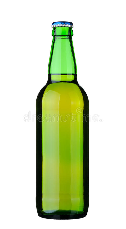 Bottle of beer. Bottle of lager beer from green glass, isolated on a white background stock images