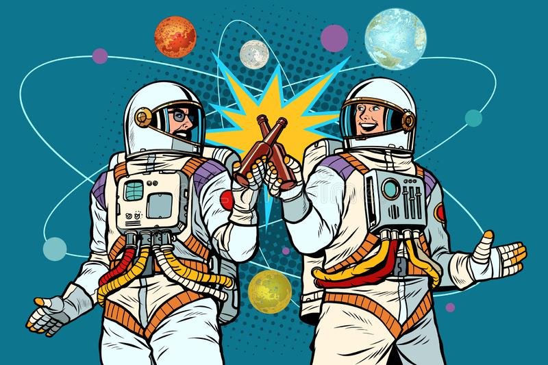 A bottle of beer cheers. two friends of the astronaut celebrate scientific achievements in space. cosmonautics day vector illustration