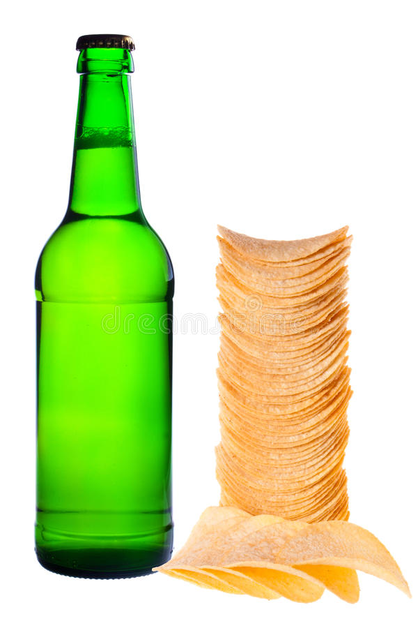 Download A bottle of beer and chips stock image. Image of chip - 22897355