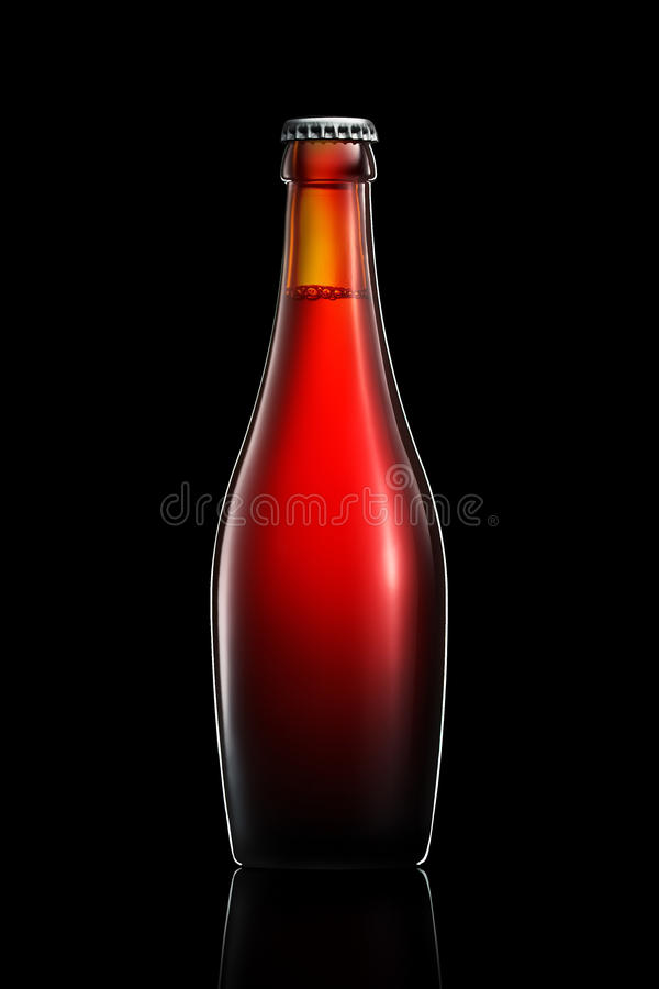 Bottle of beer or cider isolated on black background royalty free stock images