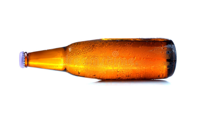 Bottle of beer with drops royalty free stock images