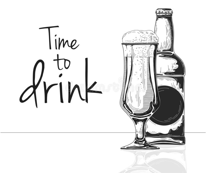Bottle of beer. Glass with beer. Caption: time to drink. Vector illustration. Of a sketch style royalty free illustration