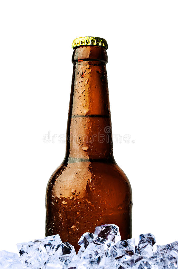 Bottle of beer with ice. Isolated on white stock photo