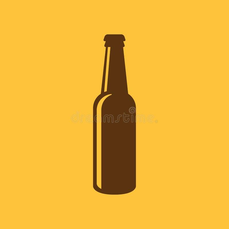Bottle of beer icon. Beer and pub, bar symbol. UI. Web. Logo. Sign. Flat design. App.Stock stock illustration