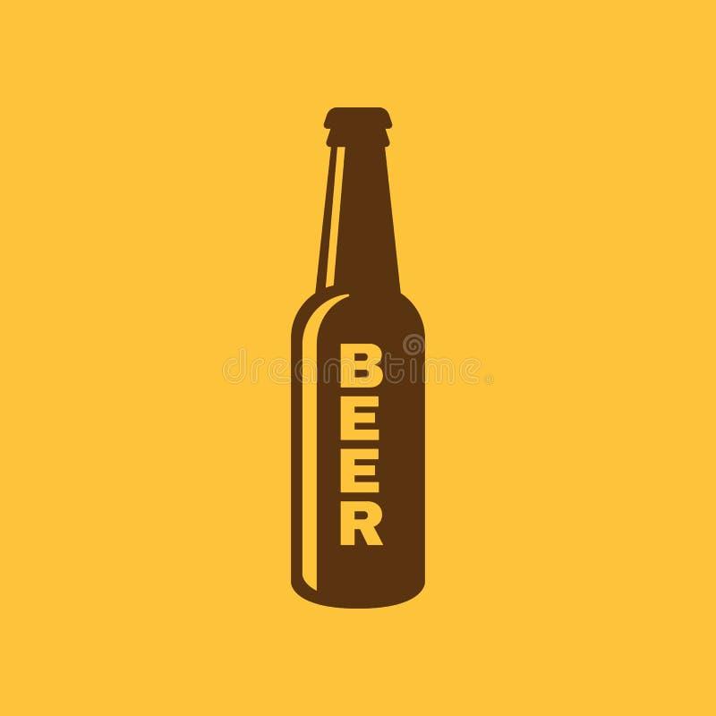 Bottle of beer icon. Beer and pub, bar symbol. UI. Web. Logo. Sign. Flat design. App.Stock royalty free illustration